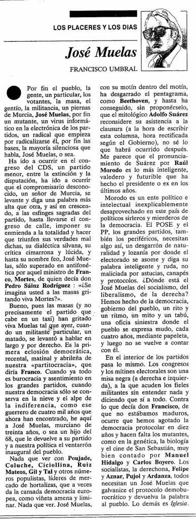José Muelas por Francisco Umbral